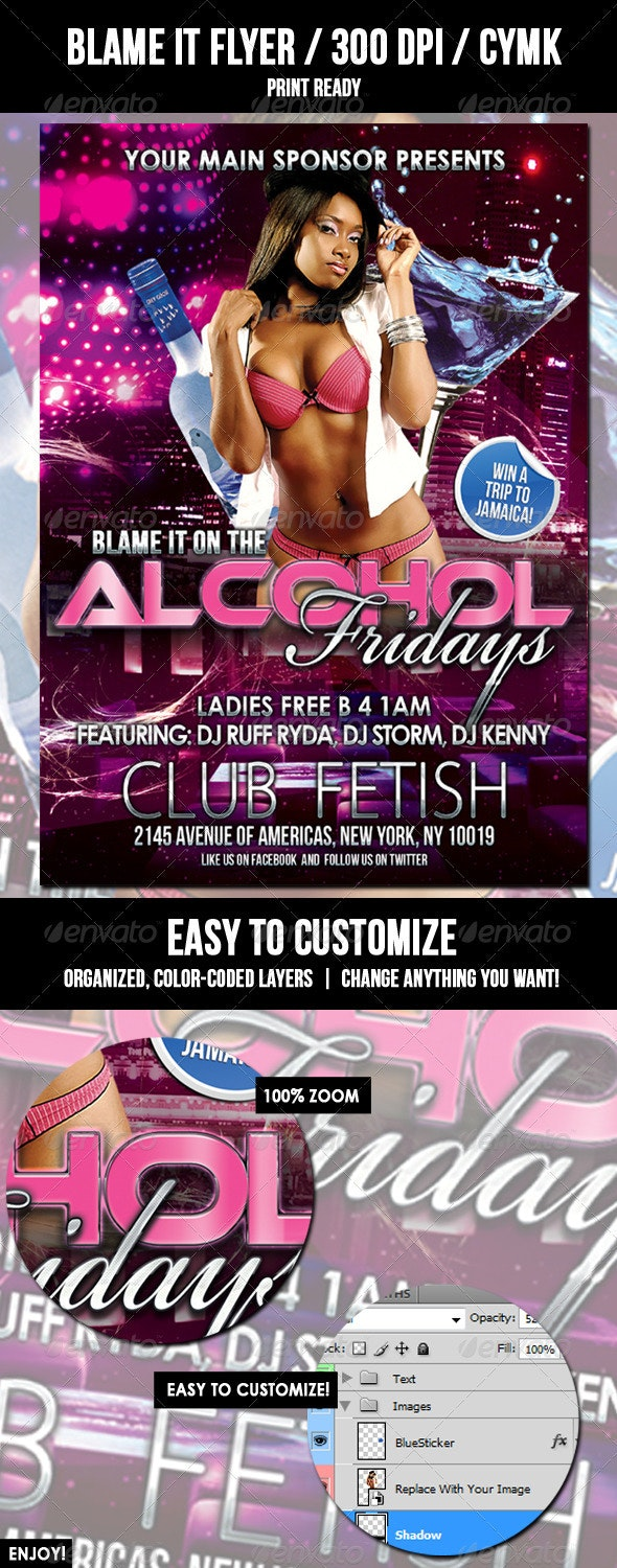 Blame It Club Flyer - Clubs & Parties Events