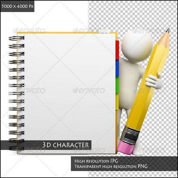3D White People. Notepad - Characters 3D Renders