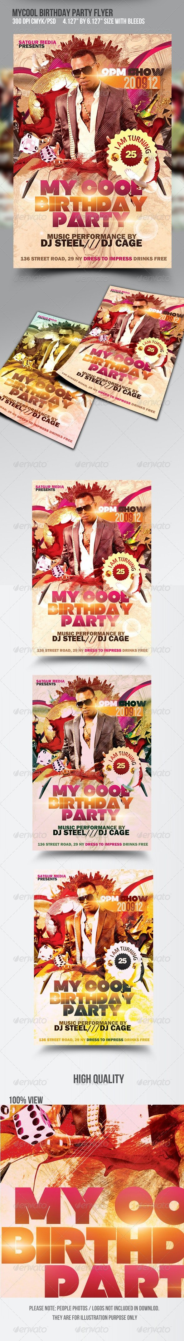 My Cool Birthday Party Flyer - Clubs & Parties Events
