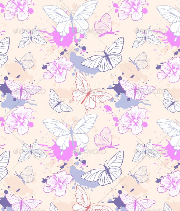Seamless Pattern with Butterfly - Patterns Decorative