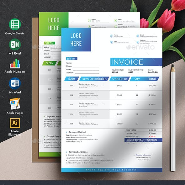 Auto Calculation Invoice Template Excel Apple Numbers Google Sheets