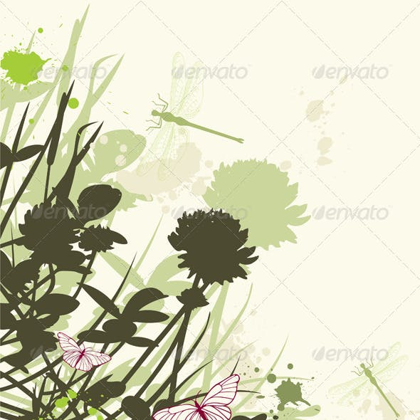 Green Floral Background with Clover