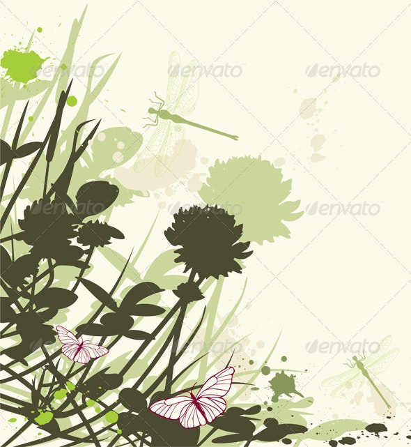 Green Floral Background with Clover  - Flowers & Plants Nature