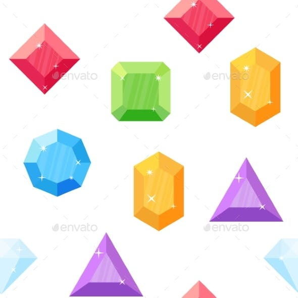 Diamonds in Various Shapes. Seamless Pattern.