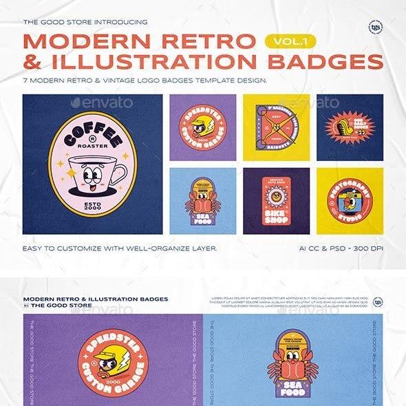 Modern Retro Illustration Logo Badges Set Vol.1
