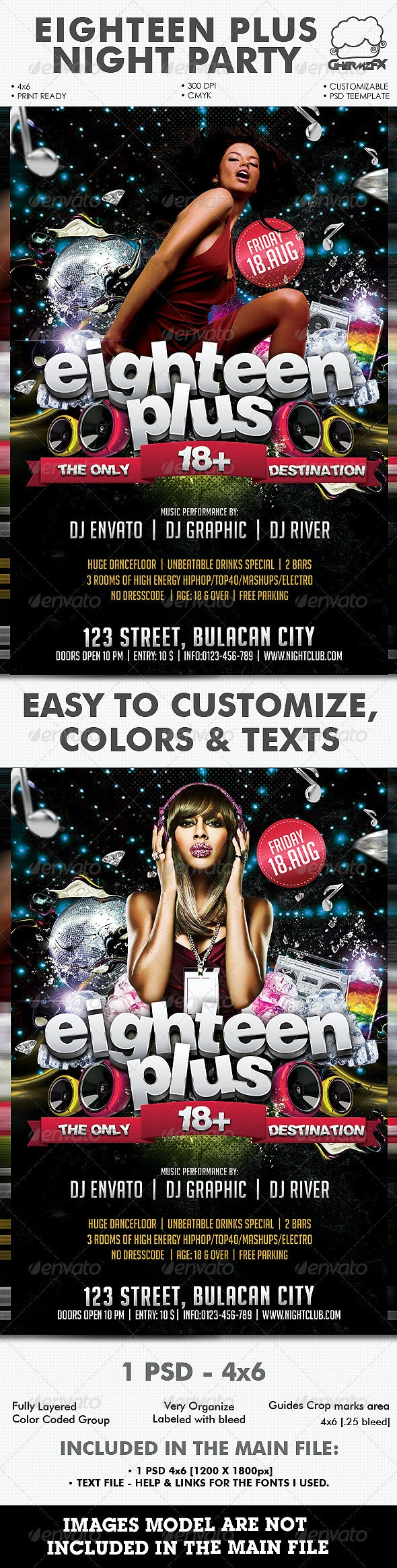 Eighteen Plus Night Party Template - Clubs & Parties Events