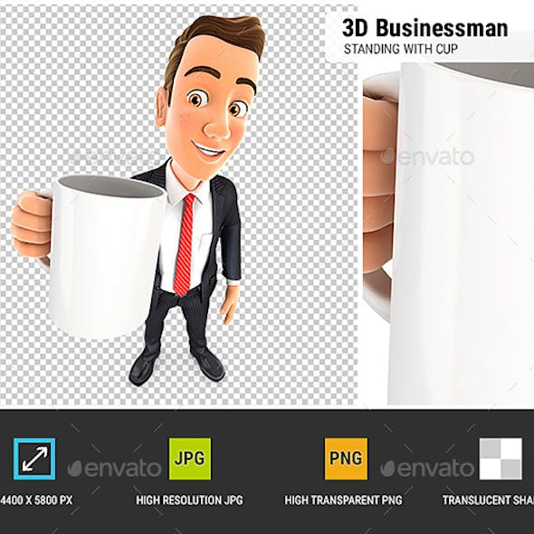 3D Businessman Standing with Cup