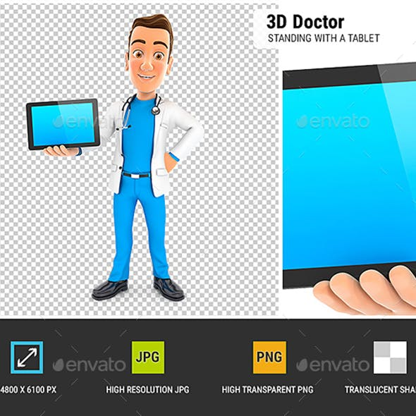 3D Doctor Standing with a Tablet