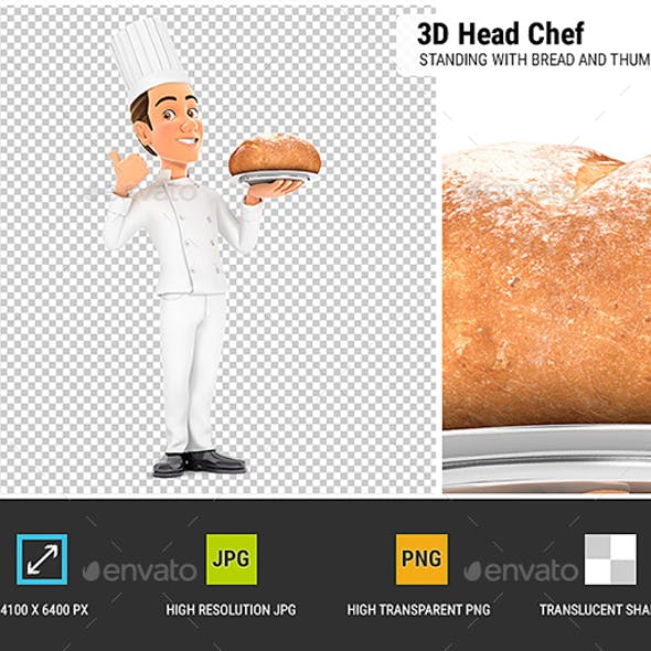 3D Head Chef Standing with Bread and Thumb Up
