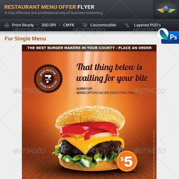Restaurant Menu Offer Flyer