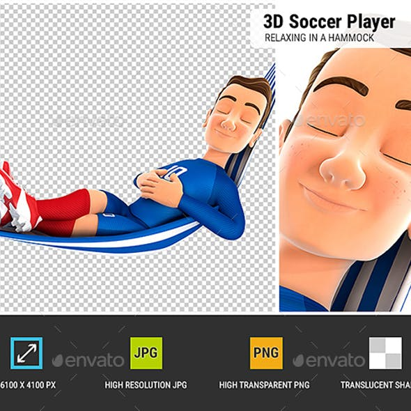 3D Soccer Player Blue Jersey Relaxing in a Hammock
