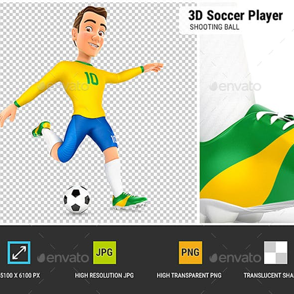 3D Soccer Player Yellow Jersey Shooting Ball