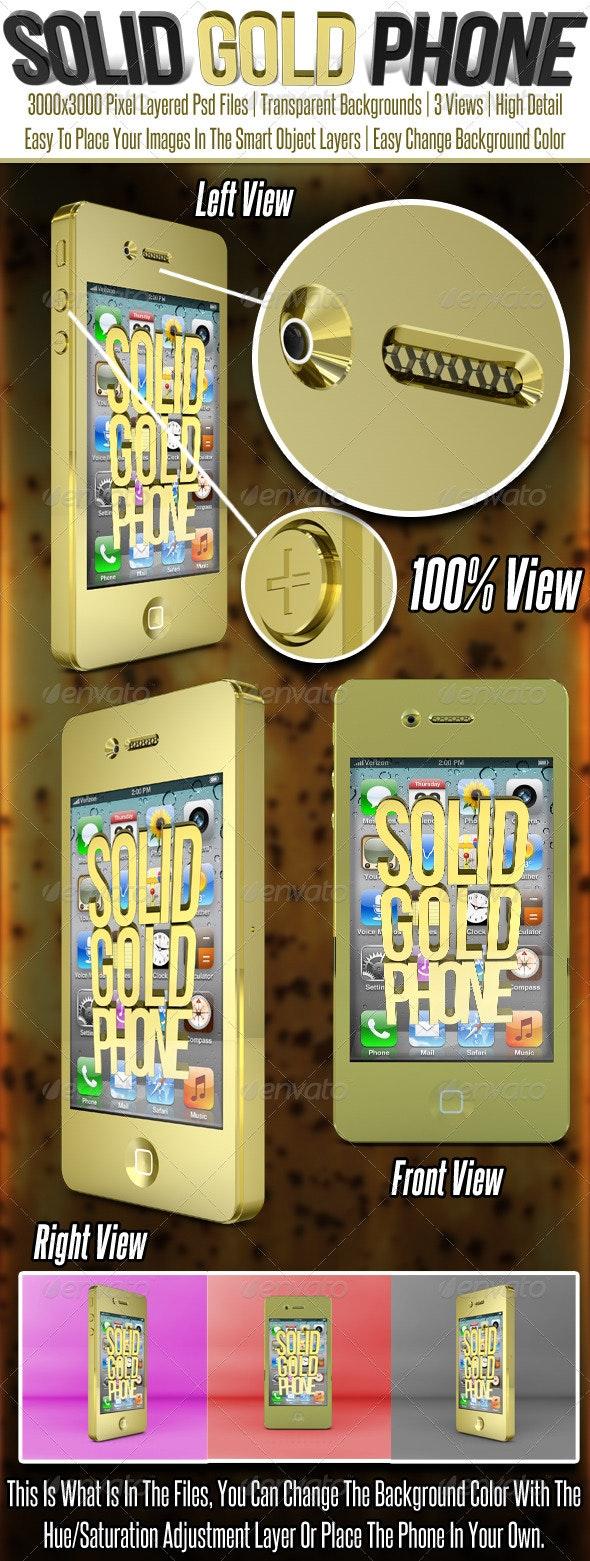Solid Gold Smart Phone Mock Up - Mobile Displays