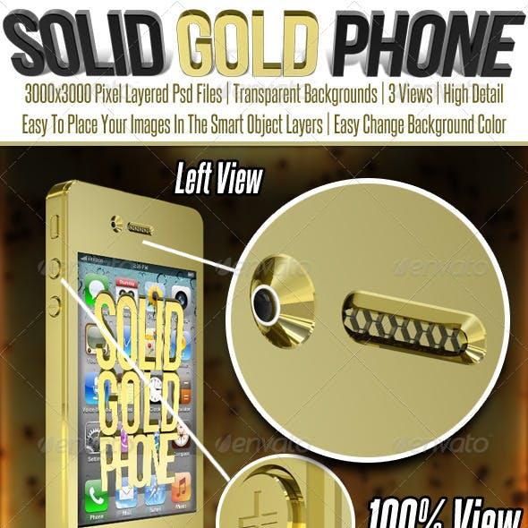 Solid Gold Smart Phone Mock Up