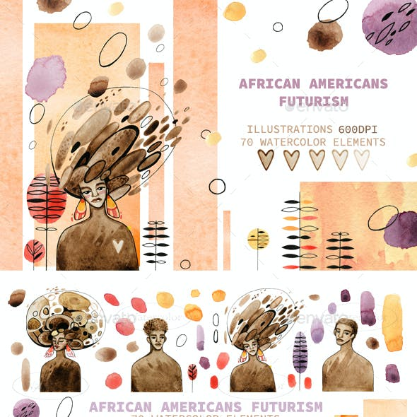 Hand-draw watercolor African Americans Futurism
