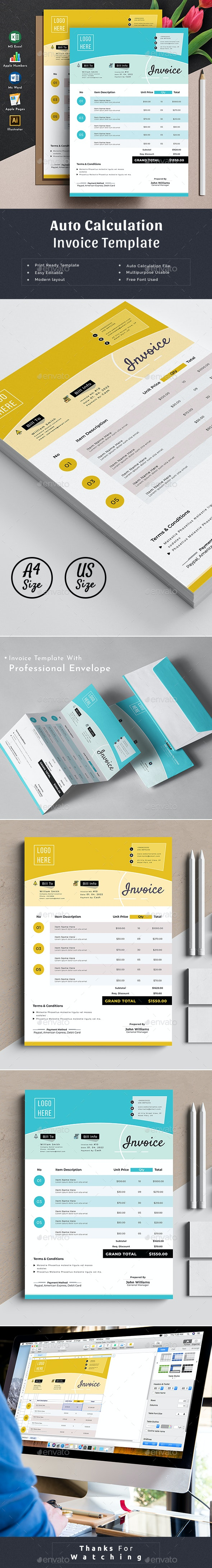 Invoice Template Word Excel Apple Numbers By 3bunny Graphicriver