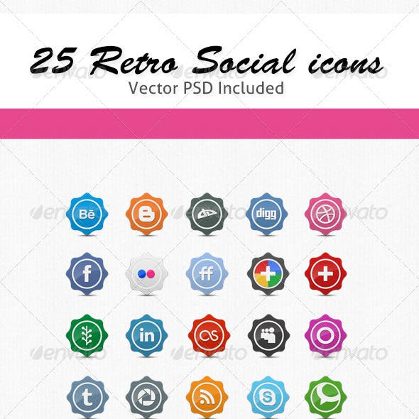 25 Retro Social Icons Badge/Label Pack
