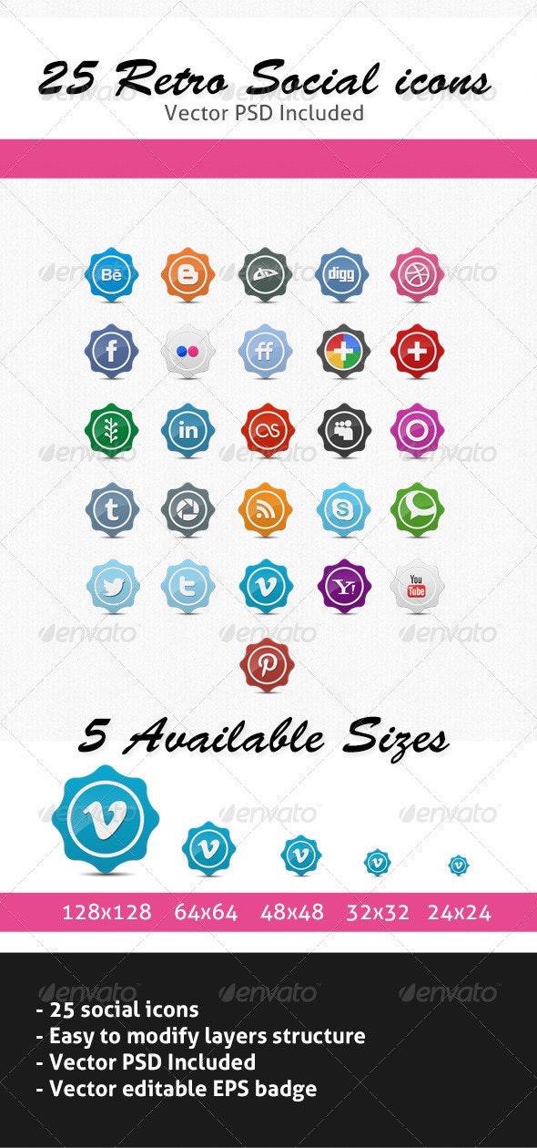 25 Retro Social Icons Badge/Label Pack - Web Icons