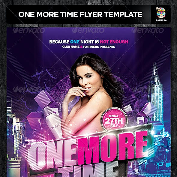 One More Time Flyer Template