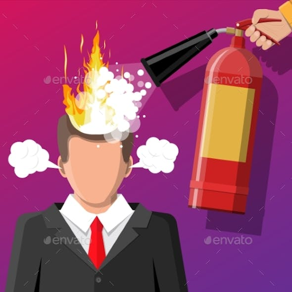 Stressed Businessman with Hair on Fire.
