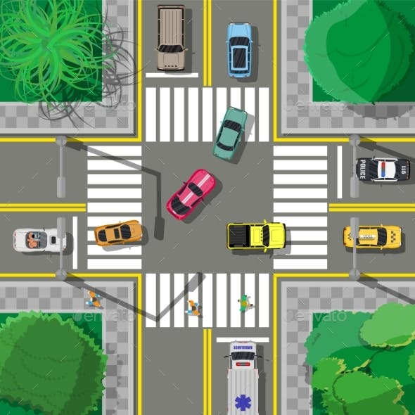 City Asphalt Crossroad with Marking, Walkways.