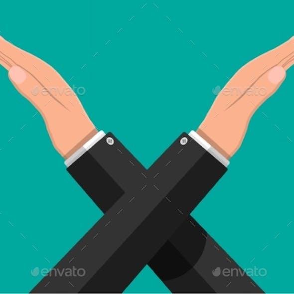 Man Gestures Cross Hands. Say No Gesture.