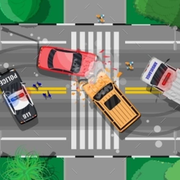 Road Accident Between Two Cars on Crossroad