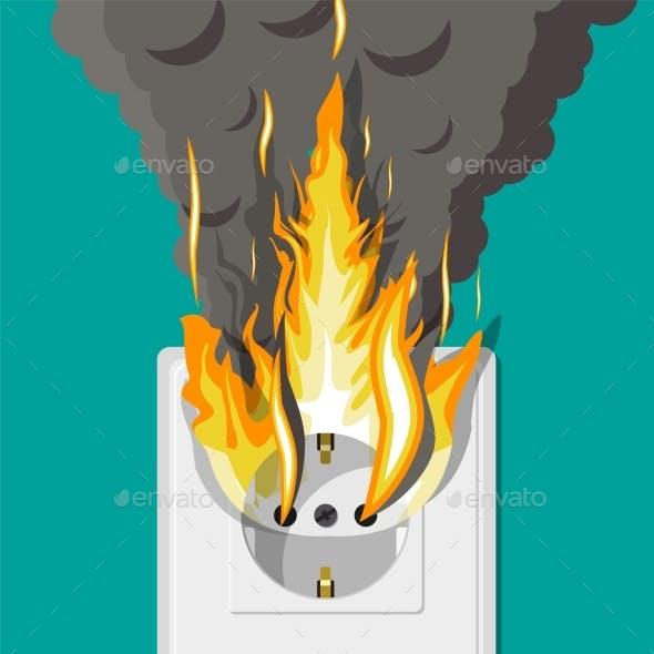 Electrical Outlet on Fire. Overload of Network.