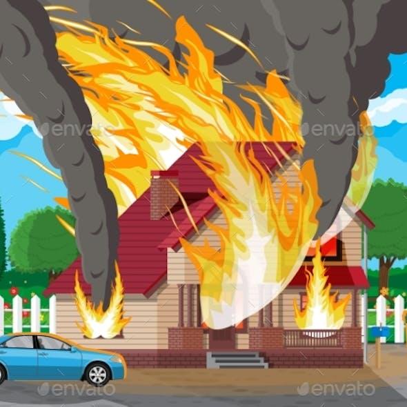 Wooden House Burns