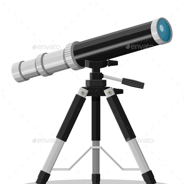 Telescope Magnification Equipment. Old Spyglass
