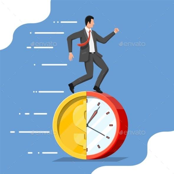 Businessman Is Running on Dollar Coin Clock.