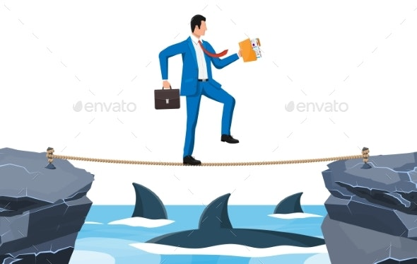 Businessman Walking a Tightrope Over Shark in Sea - Business Conceptual