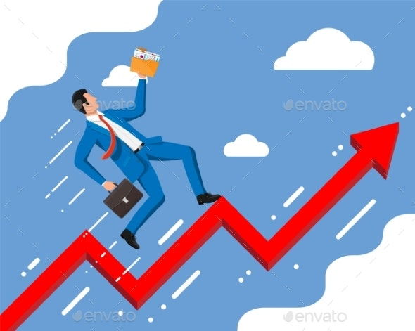 Businessman on Chart Ladder Is Fast Running - Business Conceptual