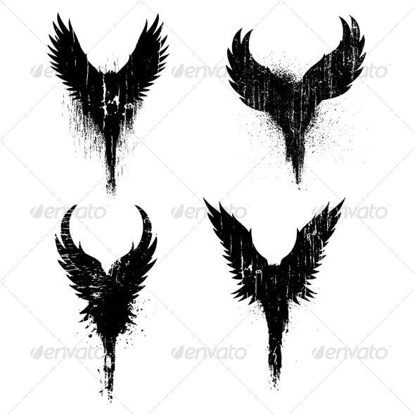 grunge Wings - Decorative Symbols Decorative