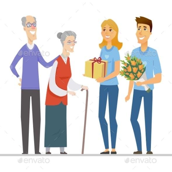 Volunteers and Senior People - Flat Design Style