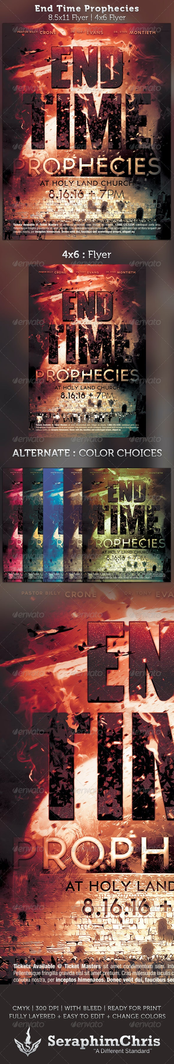 End Time Prophecies Flyer Template - Church Flyers