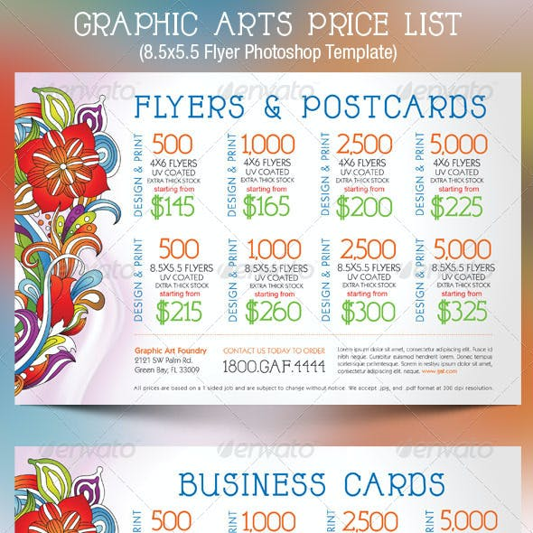 Graphic Arts Price List Flyer Postcard Template