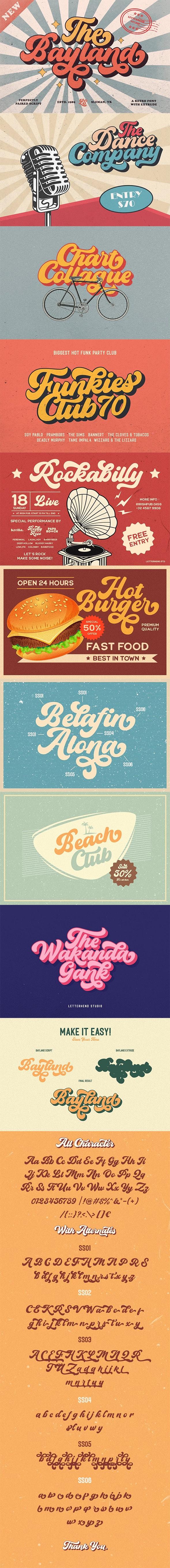 The Bayland - Retro Font - Script Fonts