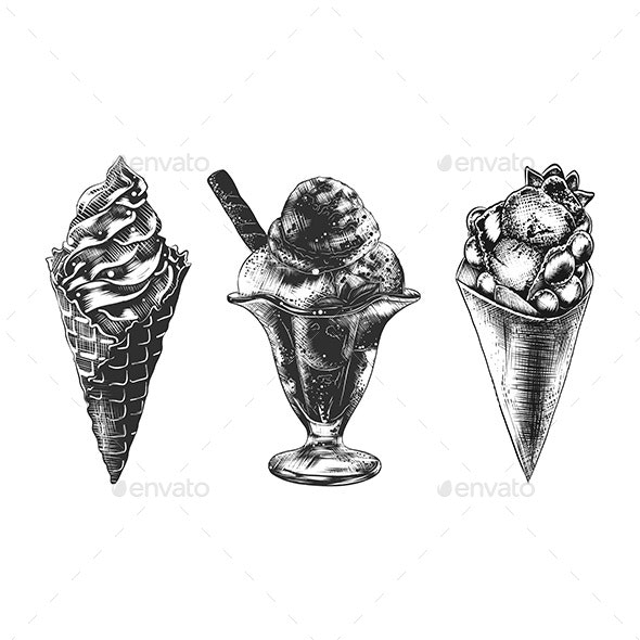 Sketches Set of Ice Cream Cone, Hong Kong Waffle And Sundae - Food Objects