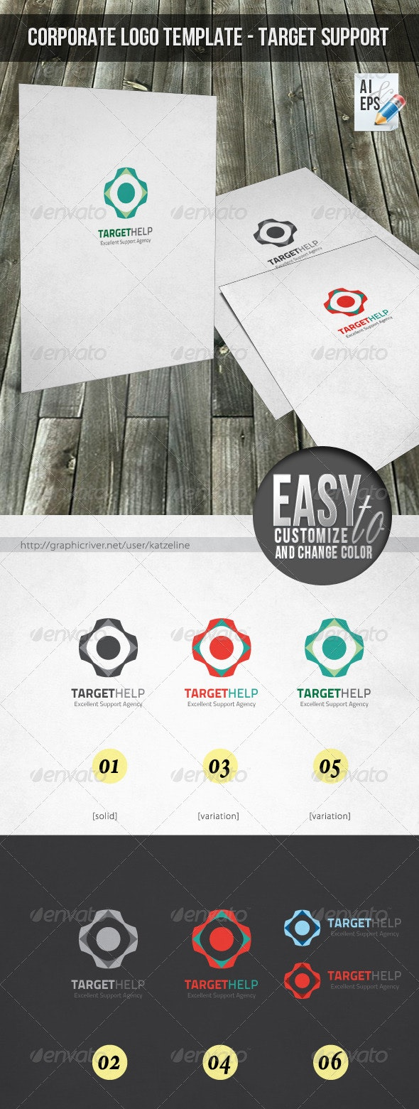 Corporate Logo - Target Support - Objects Logo Templates