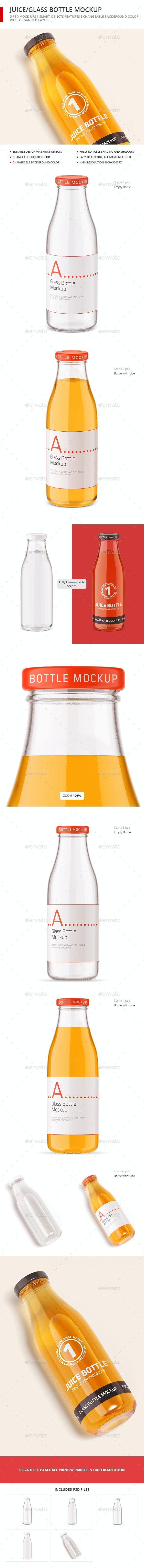 Juice / Glass Bottle Mockup - Food and Drink Packaging