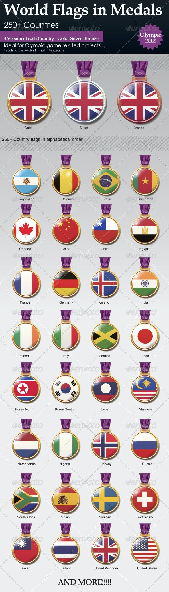 World Flags in Medals - Man-made Objects Objects