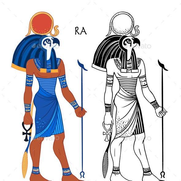 Portrait of Ra, Egyptian God of Sun