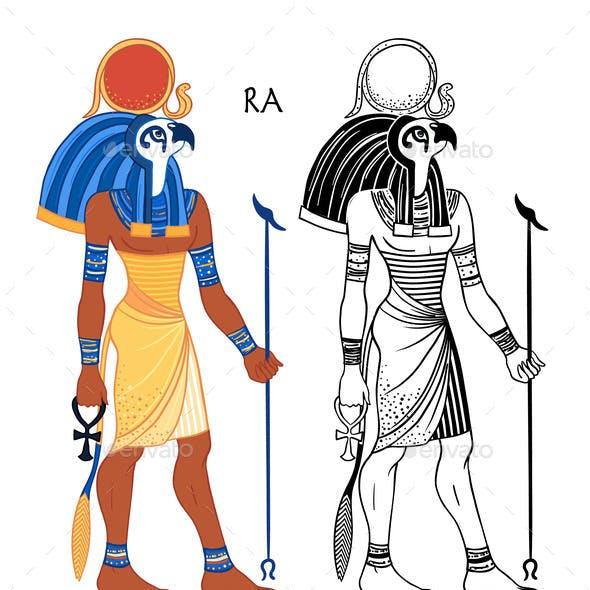 Portrait of Egyptian God of Sun