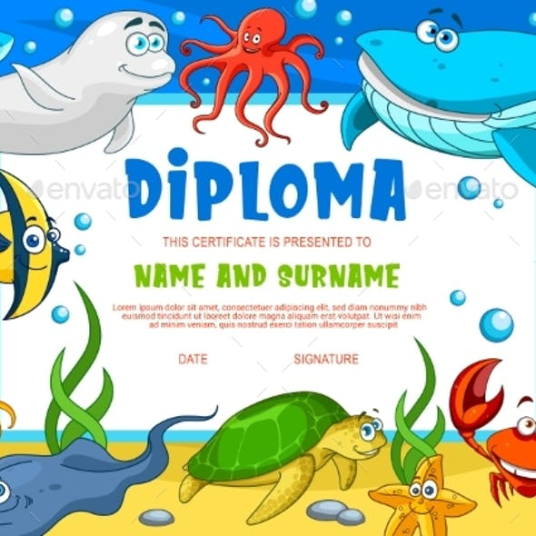 Education Diploma for School Underwater Animals