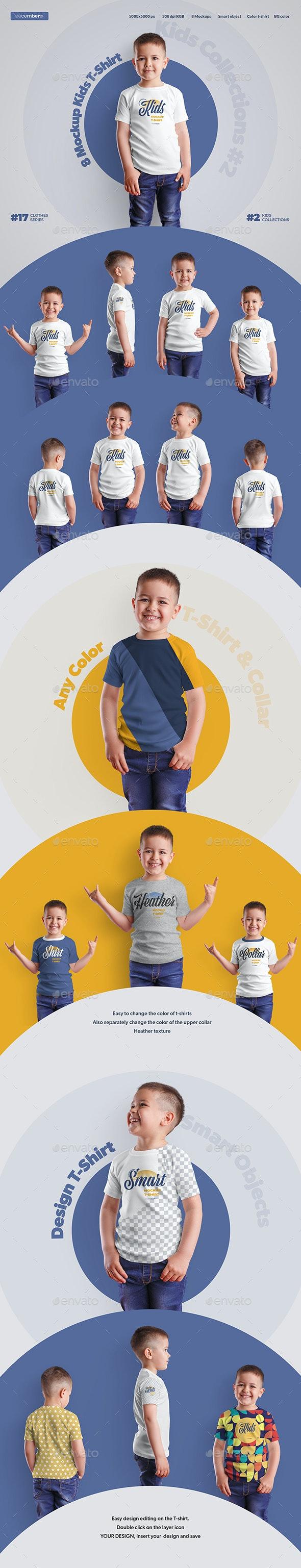 8 Mockups Kids Boy T-Shirt - T-shirts Apparel