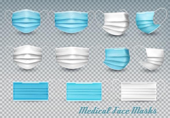 Collection of Medical Face Masks Vector - Health/Medicine Conceptual