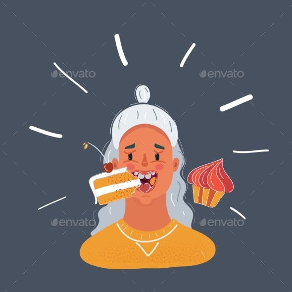 Vector Illustration of Female Eating a Cakes on