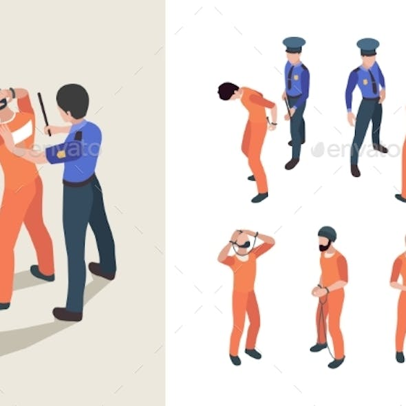 Police and Prisoners. Isometric Federal Jail