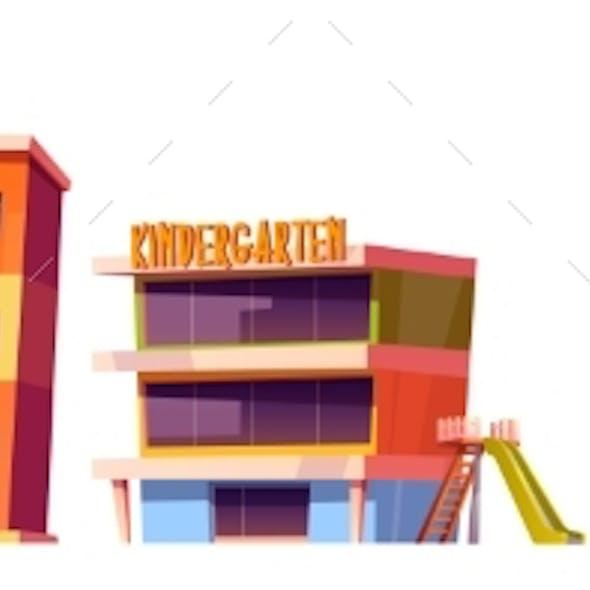 Kindergarten, School and University Buildings Set